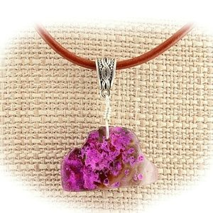 Pink Dyed Agate Wire Wrap Pendant Necklace A68a07